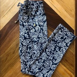 XS Michael Kors Pants Navy and White Pattern